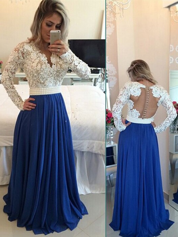 83bded4b3304 Fashion A-Line Princess Long Sleeves Chiffon V-neck Floor-Length Pearl