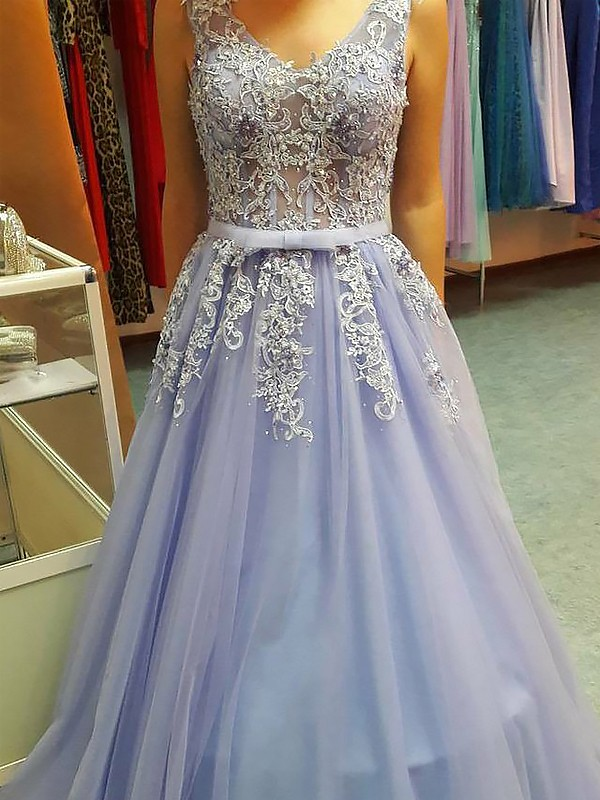 0be85b21d79 A-Line Princess V-neck Sleeveless Floor-Length Applique Tulle Dresses