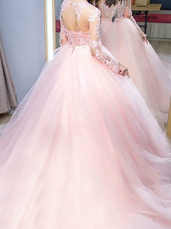 20d85d5a07e Ball Gown Jewel Long Sleeves Sweep Brush Train Lace Tulle Dresses ...