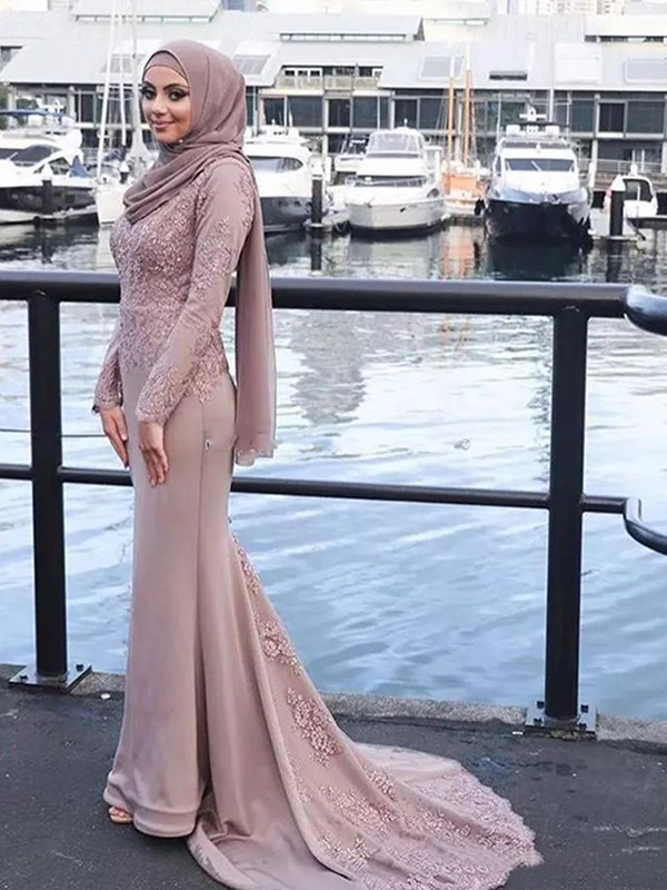 a2151ecf004 Trumpet Mermaid Long Sleeves Scoop Sweep Brush Train Applique Satin Muslim  Dresses