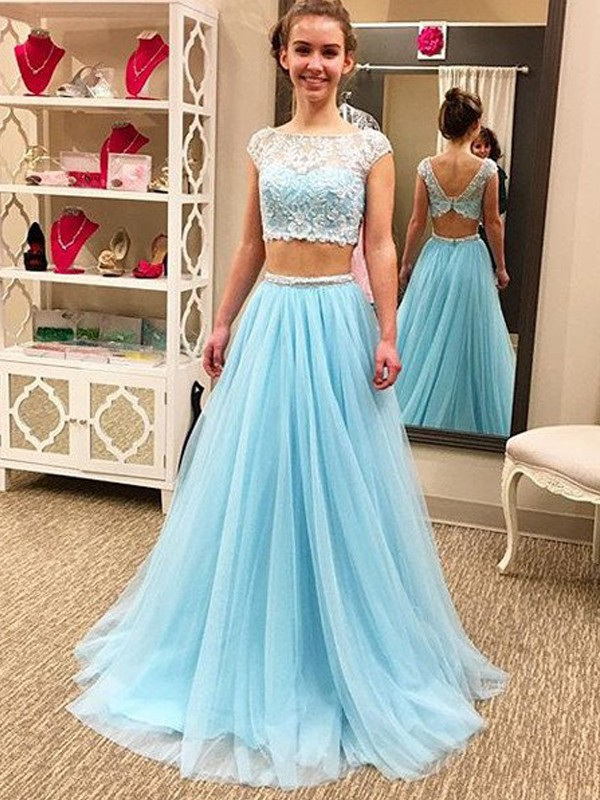 98780535ee Stylish A-Line Princess Sleeveless Floor-Length Scoop Beading Tulle Two  Piece Dresses