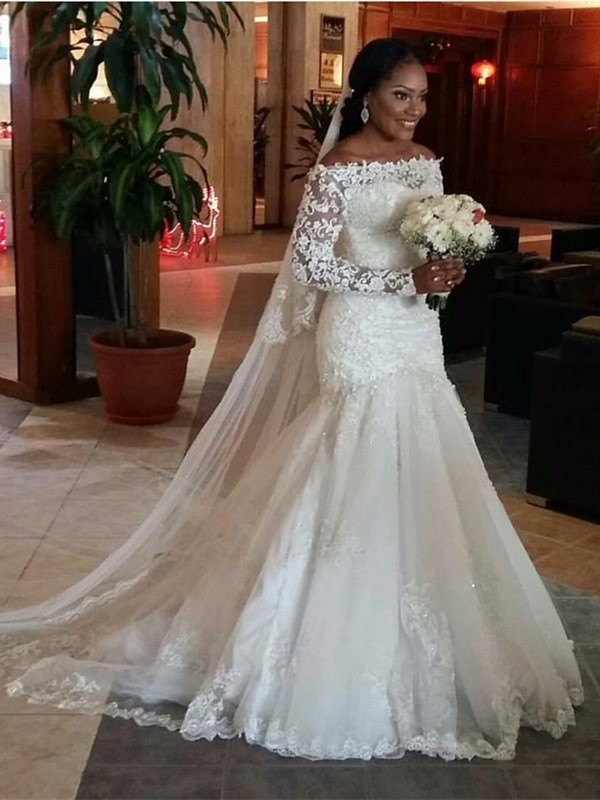 fcfe711998c5 Stylish Trumpet/Mermaid Long Sleeves Lace Off-the-Shoulder Sweep Train  Tulle Wedding