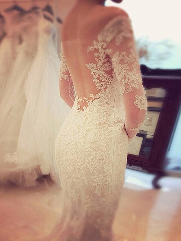 Fashion Trumpet/Mermaid Long Sleeves Lace Off-the-Shoulder Sweep ...