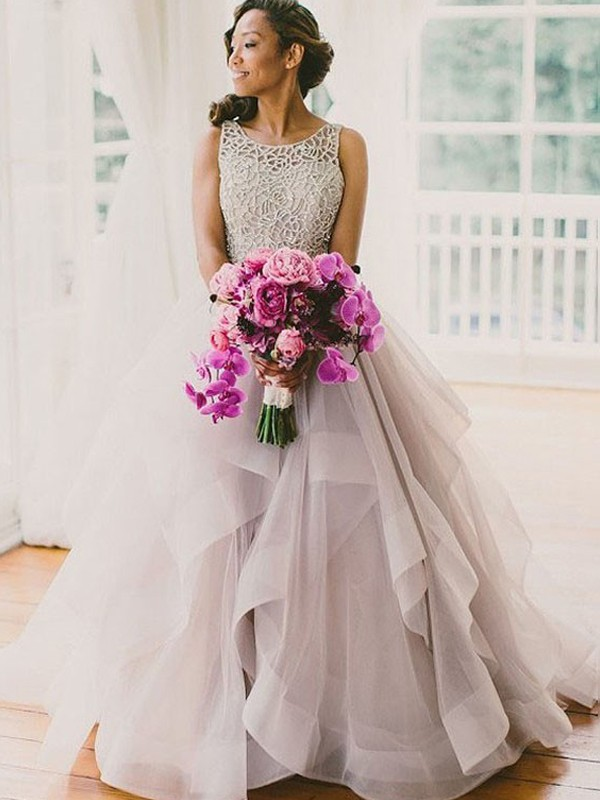 Stylish Ball Gown Scoop Beading Sleeveless Sweep/Brush Train Organza ...