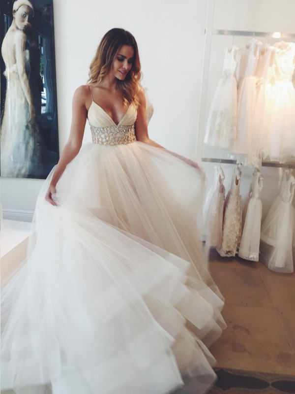 Stylish Ball Gown Straps Sleeveless Spaghetti Crystal Court Train ...