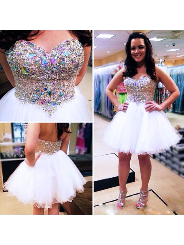 b1d4591f707 Fashion A-Line Princess Sweetheart Beading Sleeveless Tulle Short Mini  Dresses