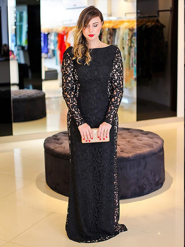 Stylish Sheath/Column Lace Long Sleeves Scoop Floor-Length Plus Size ...