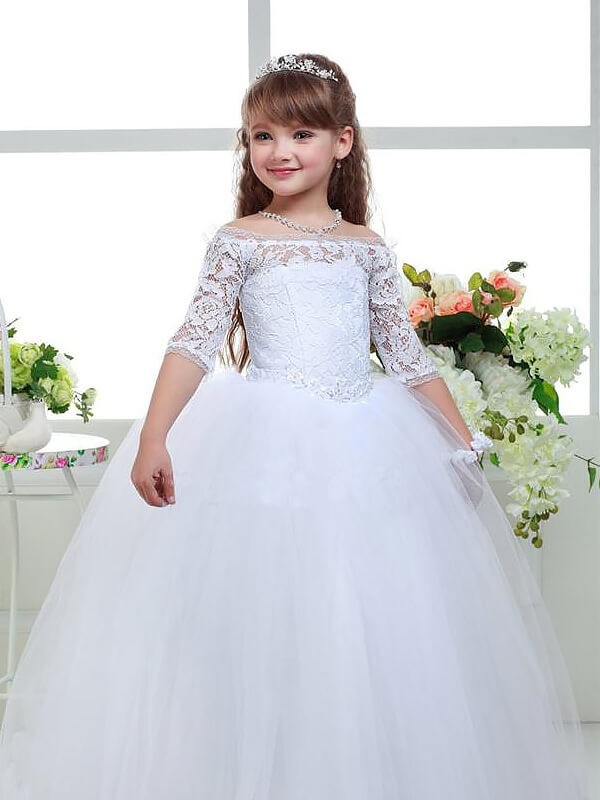198ba9778a87 Stylish Ball Gown Floor-Length Lace 1/2 Sleeves Off-the-Shoulder ...