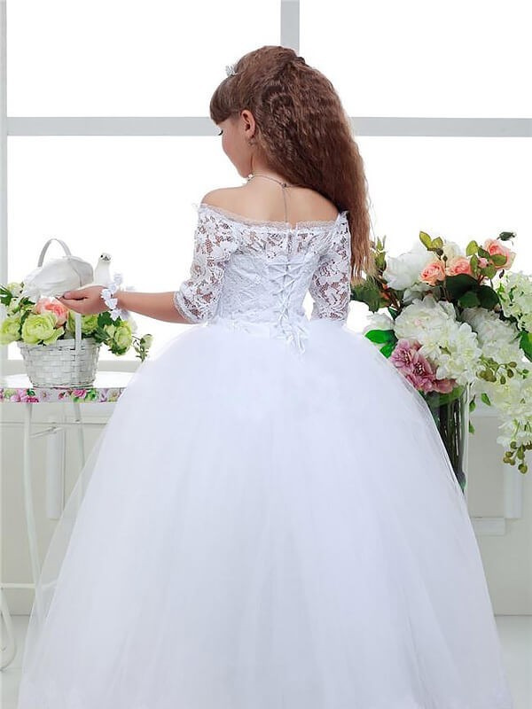 e878a381092 Stylish Ball Gown Floor-Length Lace 1 2 Sleeves Off-the-Shoulder ...