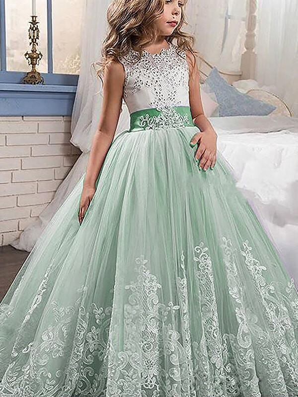 Fashion Ball Gown Floor Length Lace Sleeveless Jewel Tulle Flower Dresses