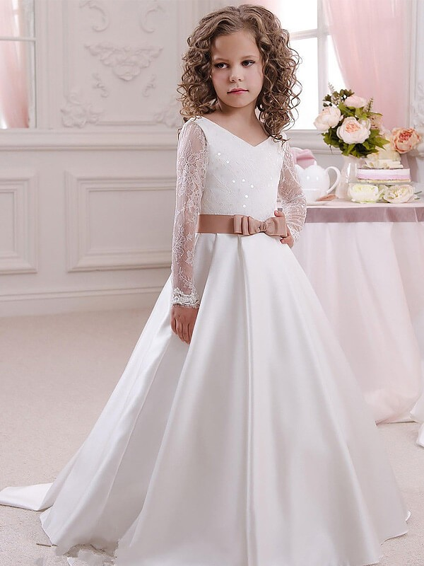 0fa09a32cdb Stylish Ball Gown Floor-Length Lace Long Sleeves V-neck Satin Flower Girl  Dresses