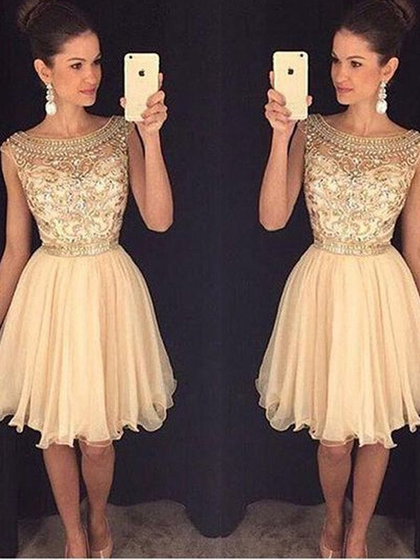 a48197ec278 Stylish A-Line Princess Sleeveless Short Mini Scoop Beading Chiffon Dresses