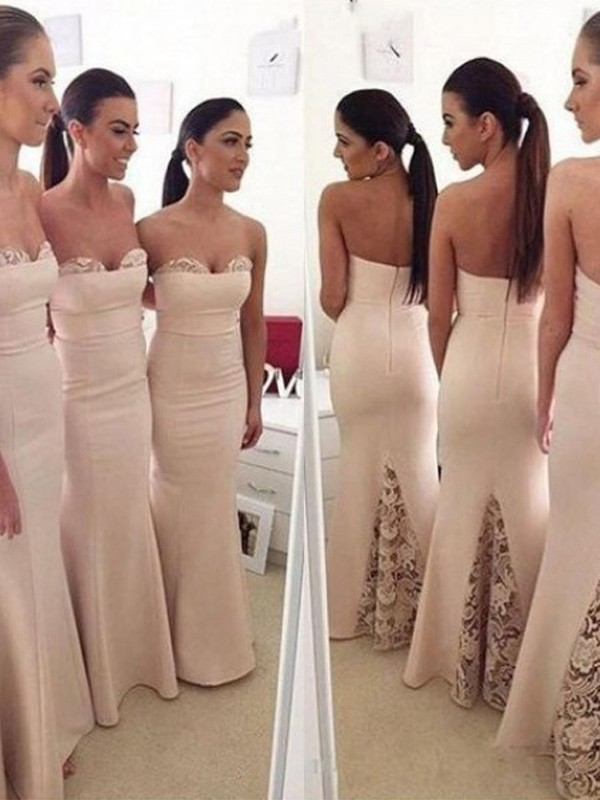 best quality best prices authentic quality Stylish Trumpet/Mermaid Sleeveless Floor-Length Sweetheart Satin Bridesmaid  Dresses