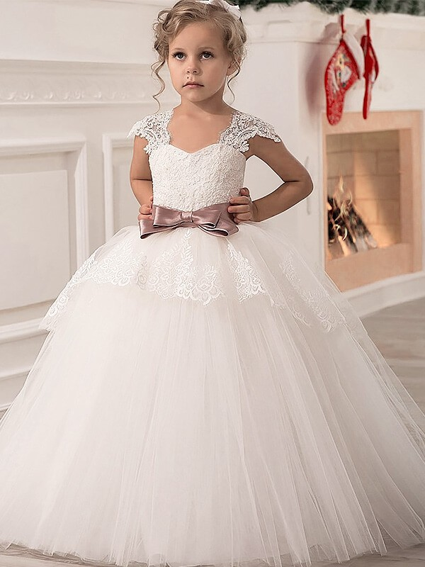 124d36d1c7 Fashion Ball Gown Tulle Sash Ribbon Belt Sleeveless Straps Floor-Length  Flower Girl