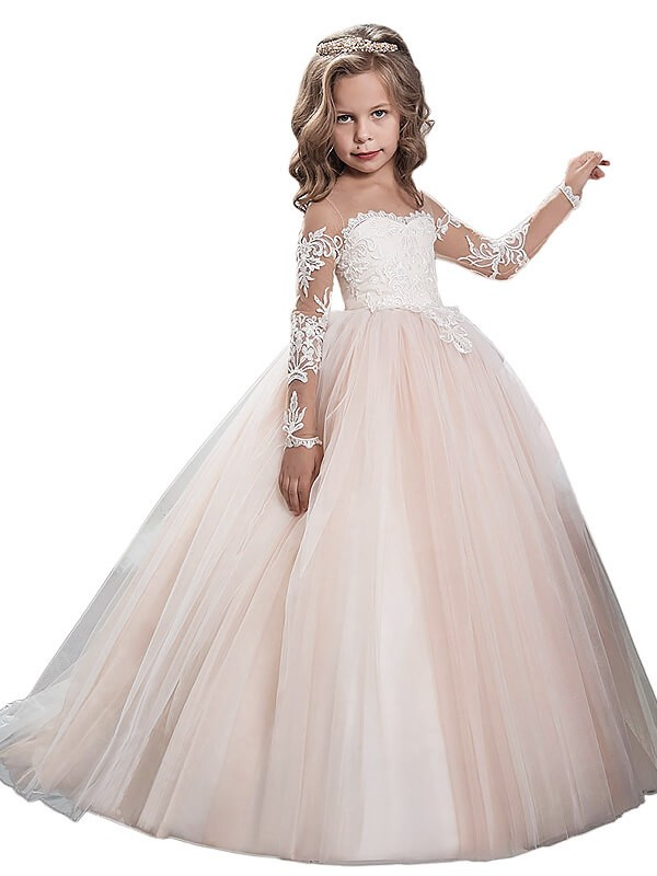 Fashion Ball Gown Tulle Floor-Length Long Sleeves Scoop Flower Girl ...