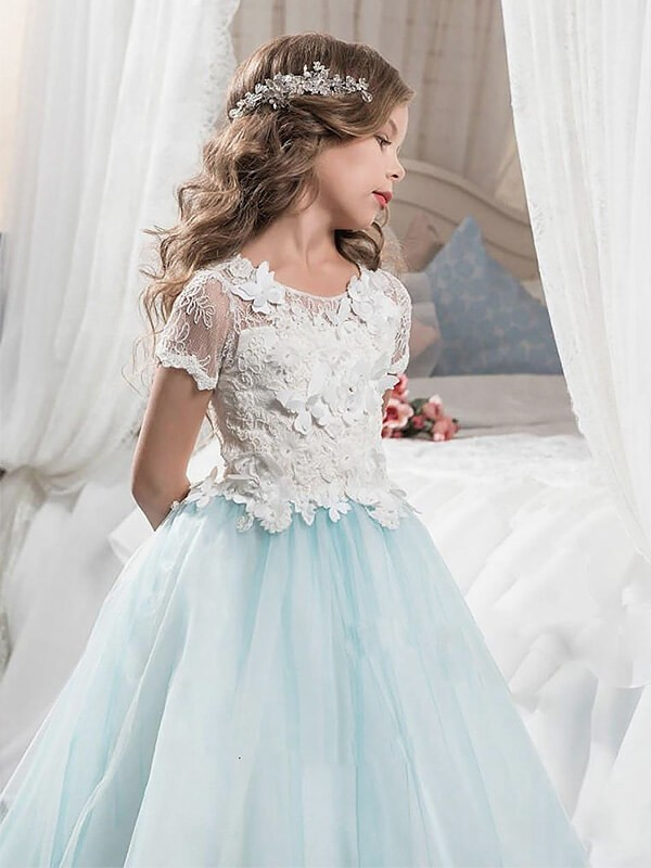 c46a9758218 ... A-line Princess Scoop Short Sleeves Lace Tulle Floor-Length Flower Girl  Dresses