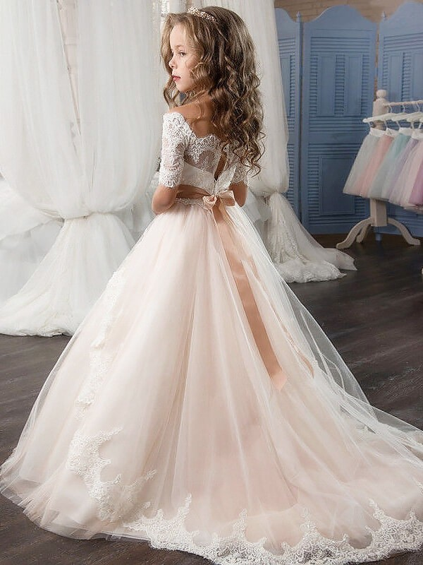 Fashion Ball Gown Sash/Ribbon/Belt Tulle Short Sleeves Off-the ...