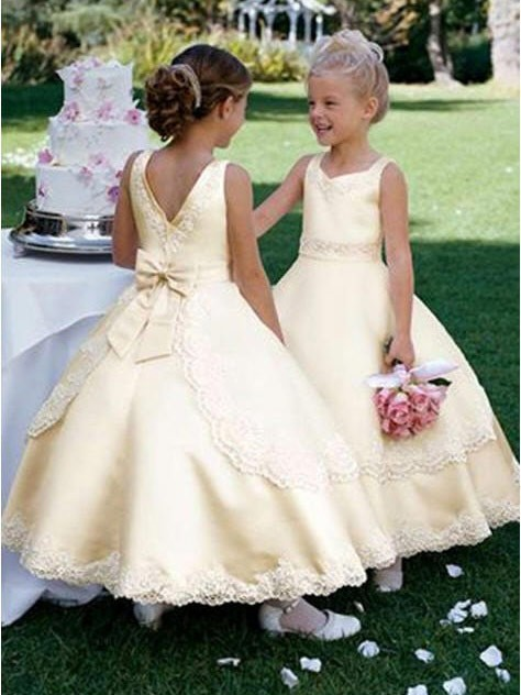 302c8926f The Most Trendy Ball Gown Scoop Sleeveless Bowknot Long Satin Flower Girl  Dresses