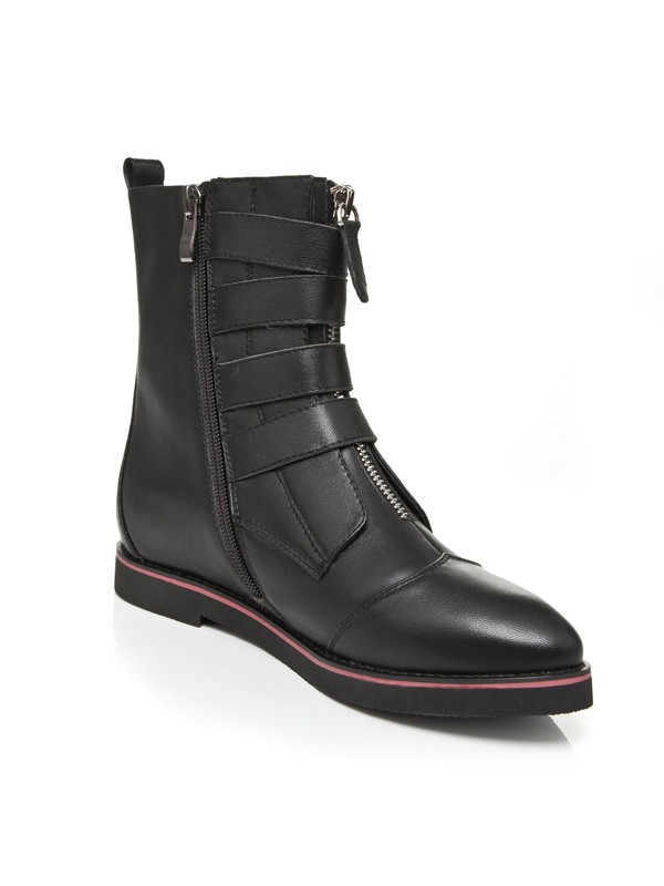 d5a6112ab4 The Most Stylish Women's Flat Heel Closed Toe Cattlehide Leather With Zipper  Mid-Calf Black