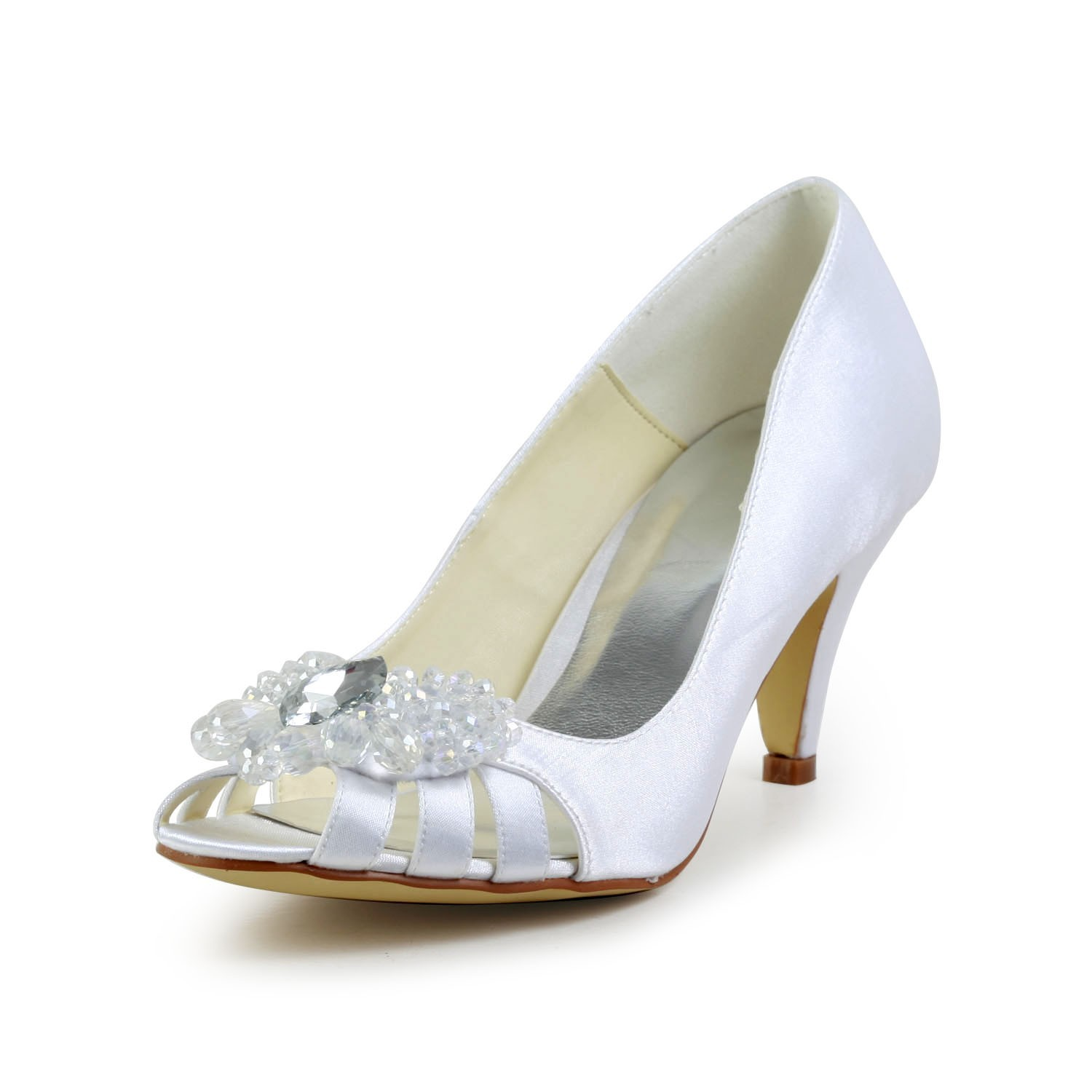 88e01bd292c3 The Most Fashionable Women s Satin Cone Heel Peep Toe Sandals White Wedding  Shoes With Hollow-