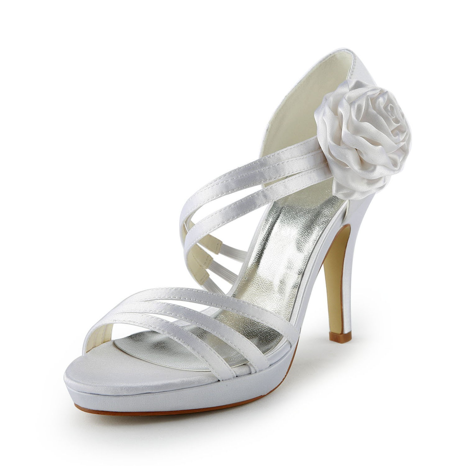 a0d407b447f The Most Fashionable Women s Satin Stiletto Heel Platform Sandals White  Wedding Shoes With Flower