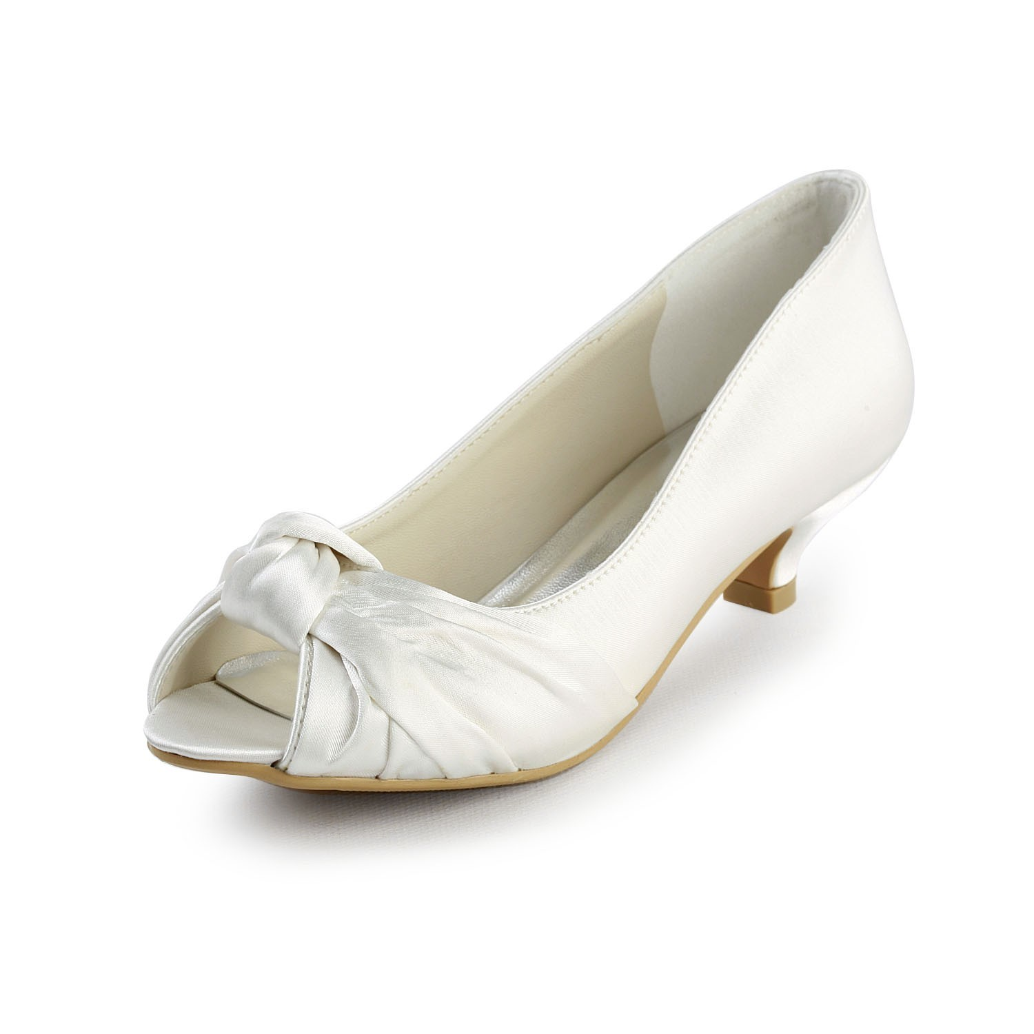 The Most Stylish Women s Satin Kitten Heel Peep Toe Sandals White Wedding  Shoes With Bowknot