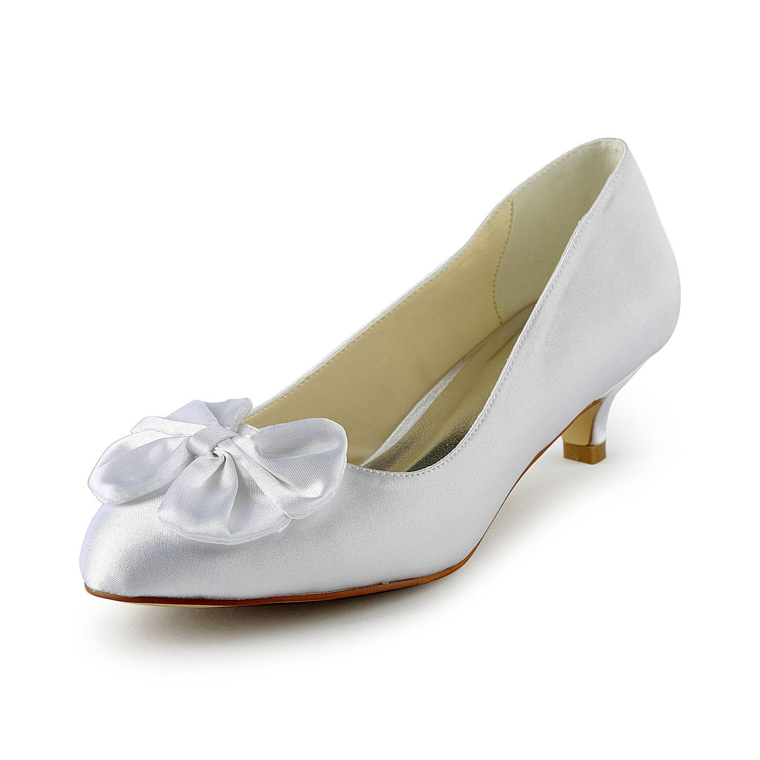 Fashion Trends Women\'s Satin Kitten Heel Pumps With Bowknot White ...