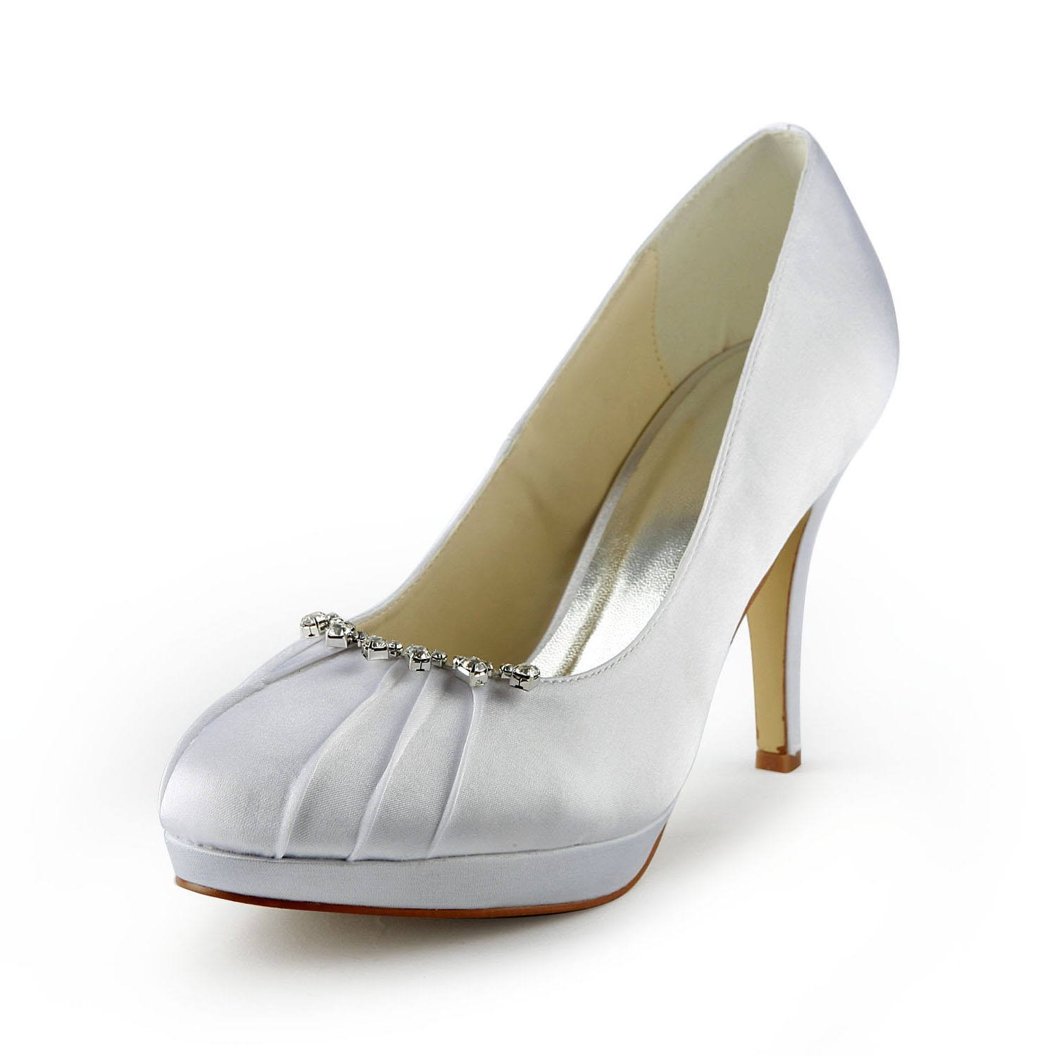8c7b18ee6786c0 The Most Stylish Women s Satin Stiletto Heel Closed Toe Platform White  Wedding Shoes With Rhinestone