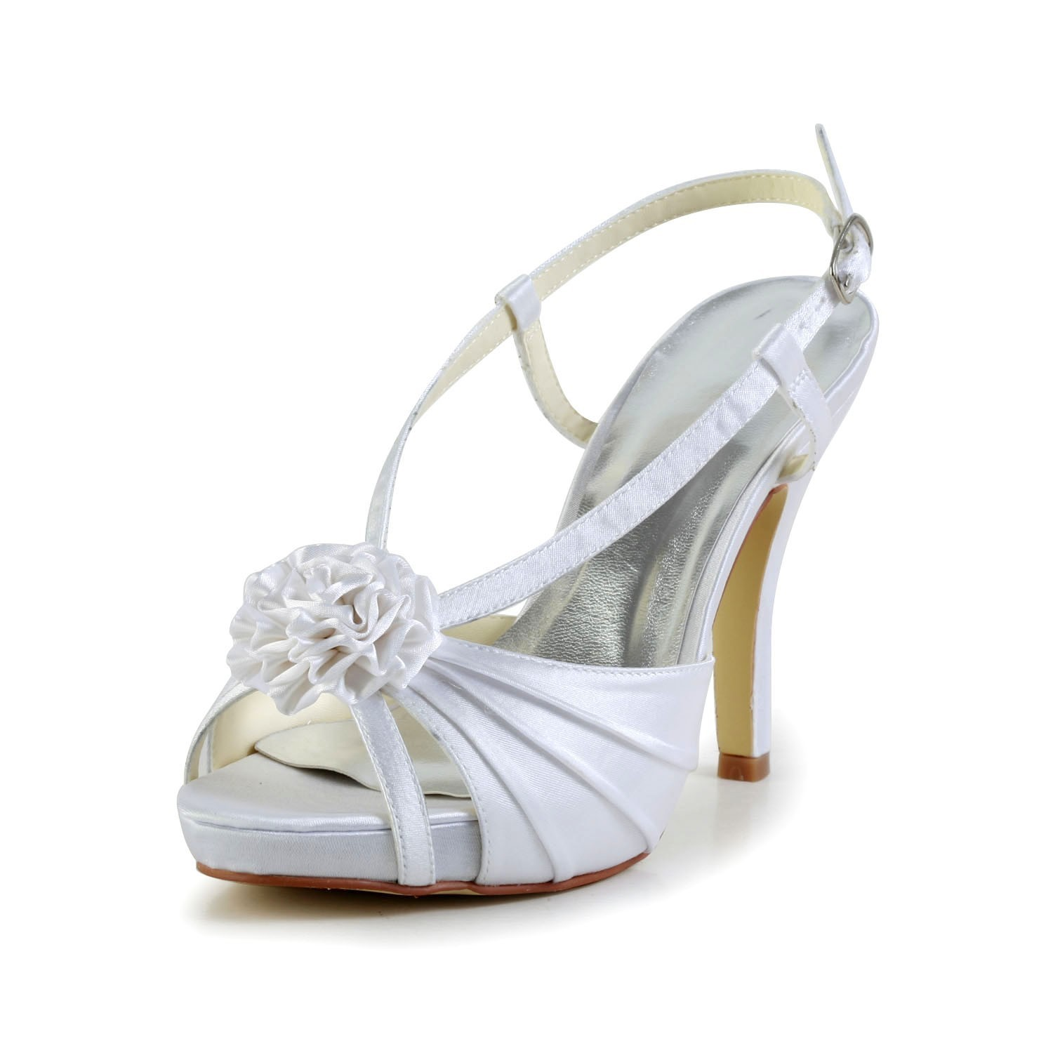 8252056811d7 The Most Fashionable Women s Satin Stiletto Heel Peep Toe Platform White  Wedding Shoes With Buckle