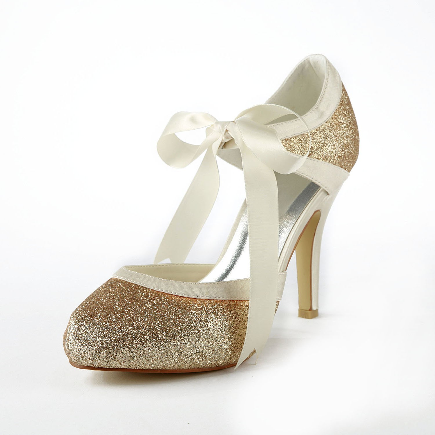 The Most Stylish Women's Satin Stiletto Heel Pumps With Sparkling Glitter  White Wedding Shoes