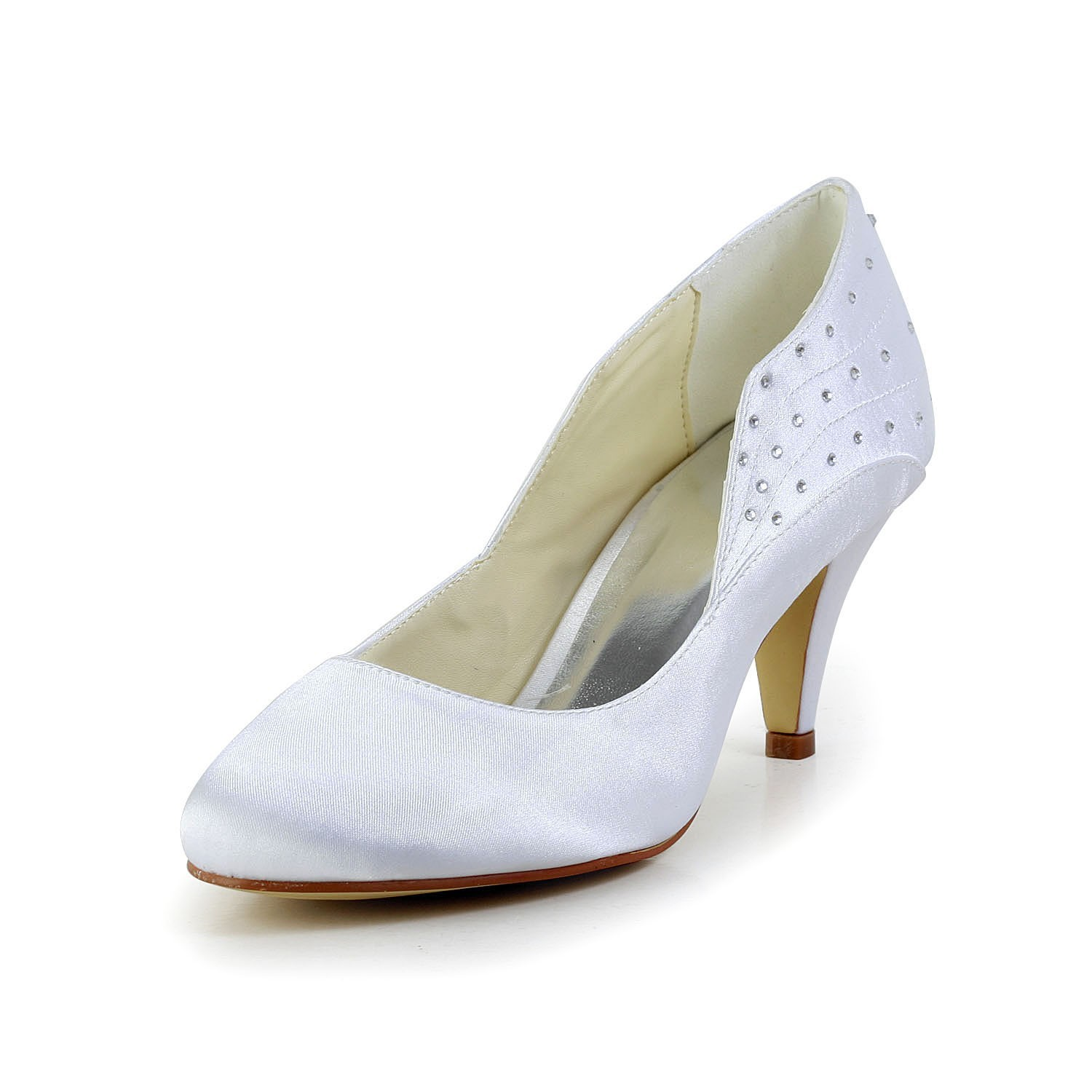 b5035748d Fashion Trends Women s Simple Satin Closed Toe Cone Heel White Wedding Shoes  With Rhinestone