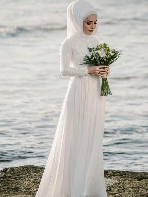A Line Jewel Long Sleeves Floor Length With Applique Chiffon Wedding Dresses