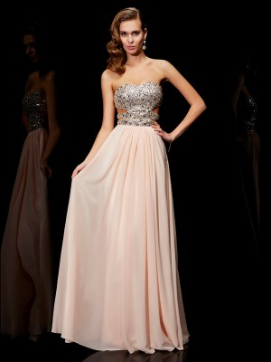 Fashion A-Line/Princess Rhinestone Sleeveless Sweetheart Long Chiffon Dresses
