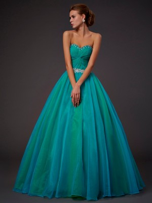 Stylish Ball Gown Sleeveless Long Sweetheart Beading Tulle Quinceanera Dresses