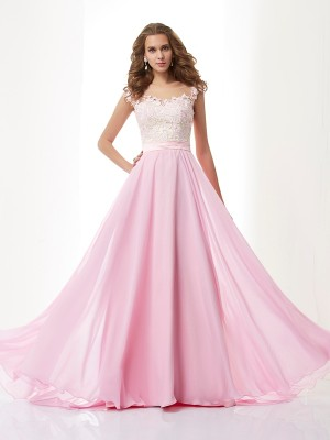 Fashion A-Line/Princess Applique Sleeveless Straps Beading Long Chiffon Dresses