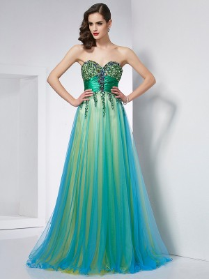 Stylish Ball Gown Sleeveless Ruffles Sweetheart Long Elastic Woven Satin Dresses