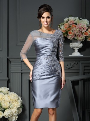 Fashion Sheath/Column Beading 1/2 Sleeves Scoop Short Satin Mother of the Bride Dresses