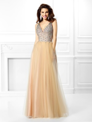 Stylish Ball Gown Beading Sleeveless V-neck Long Satin Quinceanera Dresses
