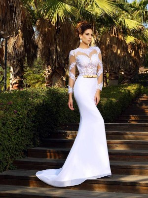 Stylish Sheath/Column Applique Long Sleeves Scoop Long Satin Wedding Dresses