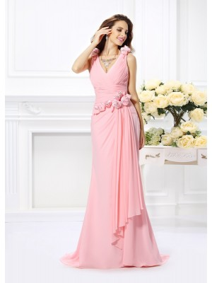 Stylish Trumpet/Mermaid Hand-Made Flower V-neck Sleeveless Long Chiffon Bridesmaid Dresses