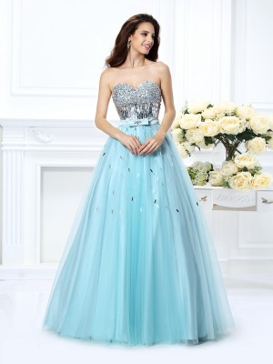 Stylish Ball Gown Beading Sleeveless Sweetheart Paillette Long Satin Quinceanera Dresses
