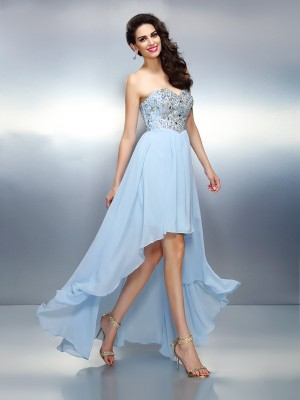 Fashion A-Line/Princess Ruffles Sleeveless Sweetheart High Low Chiffon Cocktail Dresses