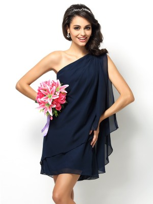 Fashion A-Line/Princess Sleeveless Short One-Shoulder Chiffon Bridesmaid Dresses