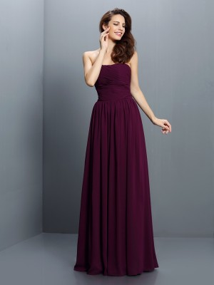 Fashion A-Line/Princess Pleats Sleeveless Strapless Long Chiffon Bridesmaid Dresses
