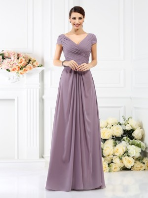 Stylish A-Line/Princess Pleats Short Sleeves V-neck Long Chiffon Bridesmaid Dresses