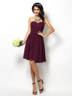 Stylish A-Line/Princess Pleats Sleeveless Sweetheart Short Chiffon Bridesmaid Dresses