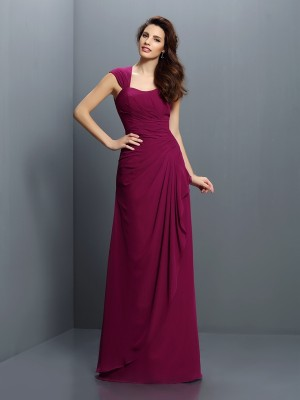 Fashion A-Line/Princess Pleats Sleeveless Straps Long Chiffon Bridesmaid Dresses
