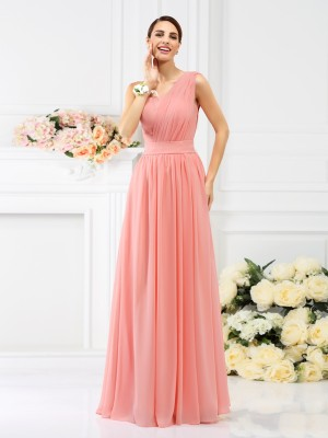 Stylish A-Line/Princess Pleats Sleeveless One-Shoulder Long Chiffon Bridesmaid Dresses