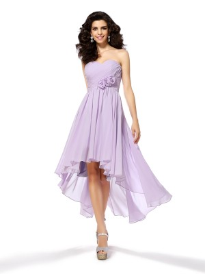 Stylish A-Line/Princess Hand-Made Flower Sweetheart Sleeveless High Low Chiffon Cocktail