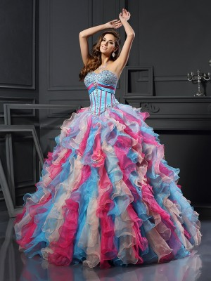 Stylish Ball Gown Beading Sleeveless Sweetheart Long Organza Quinceanera Dresses